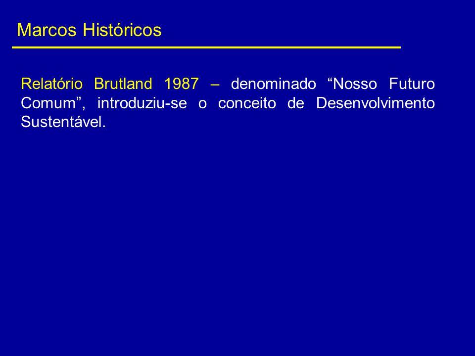 Marcos Históricos Relatório Brutland 1987 – denominado Nosso Futuro Comum , introduziu-se o conceito de Desenvolvimento Sustentável.