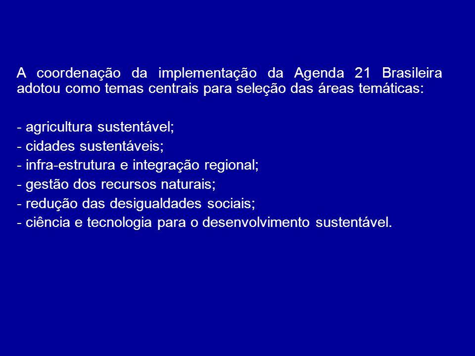 A coordenação da implementação da Agenda 21 Brasileira adotou como temas centrais para seleção das áreas temáticas: