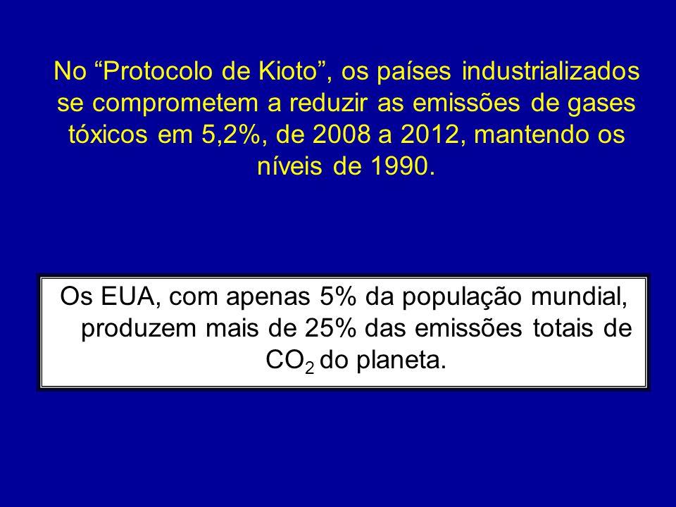 No Protocolo de Kioto , os países industrializados se comprometem a reduzir as emissões de gases tóxicos em 5,2%, de 2008 a 2012, mantendo os níveis de 1990.