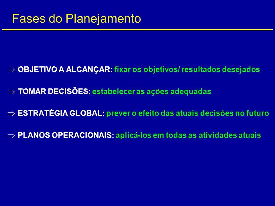 Fases do Planejamento OBJETIVO A ALCANÇAR: fixar os objetivos/ resultados desejados. TOMAR DECISÕES: estabelecer as ações adequadas.