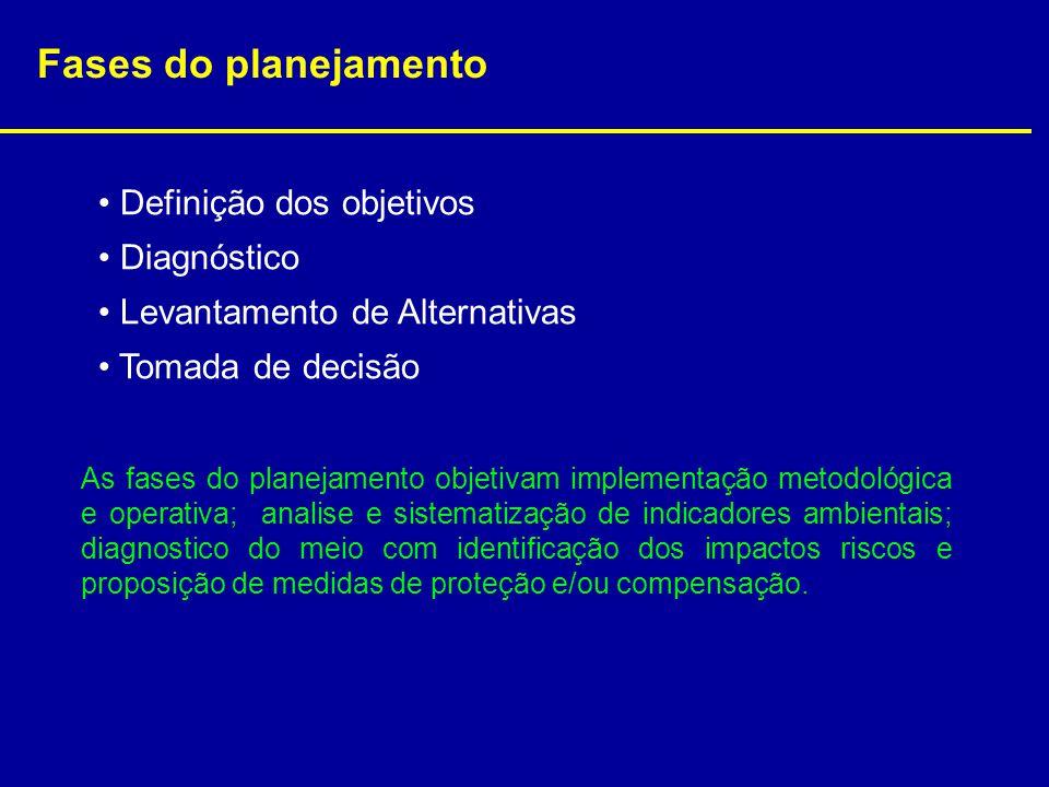Fases do planejamento Definição dos objetivos Diagnóstico