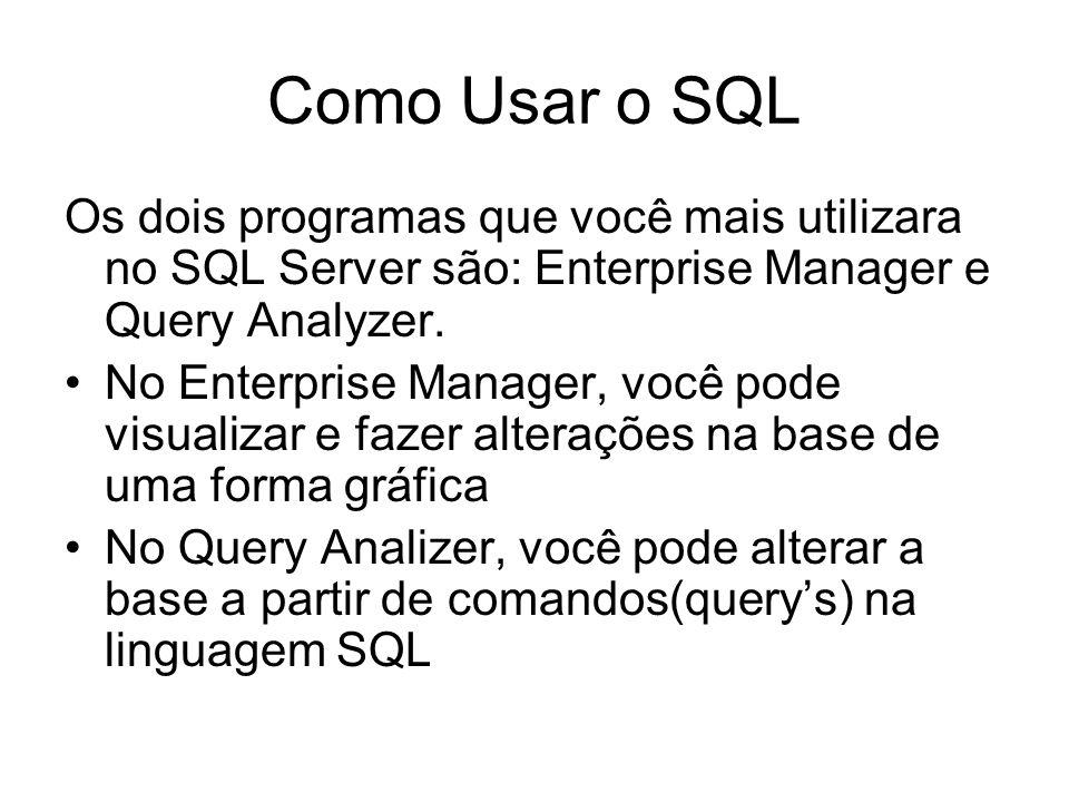 Como Usar o SQL Os dois programas que você mais utilizara no SQL Server são: Enterprise Manager e Query Analyzer.