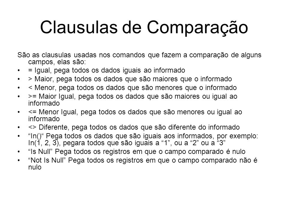 Clausulas de Comparação