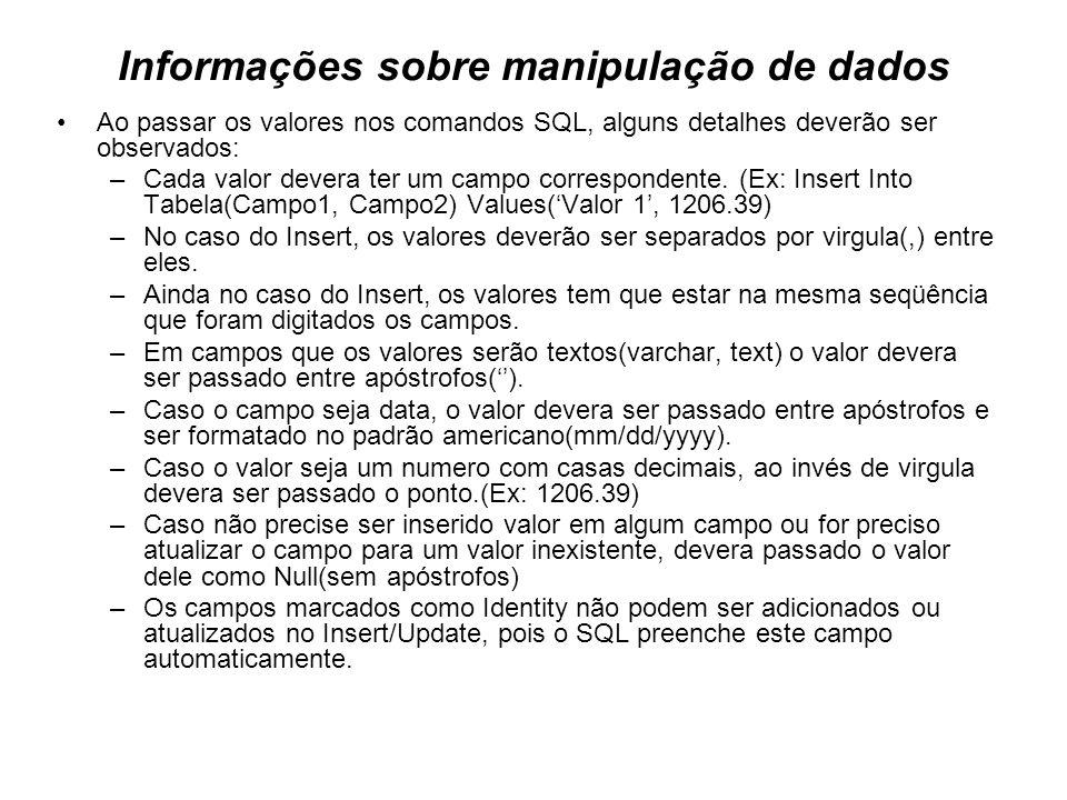 Informações sobre manipulação de dados