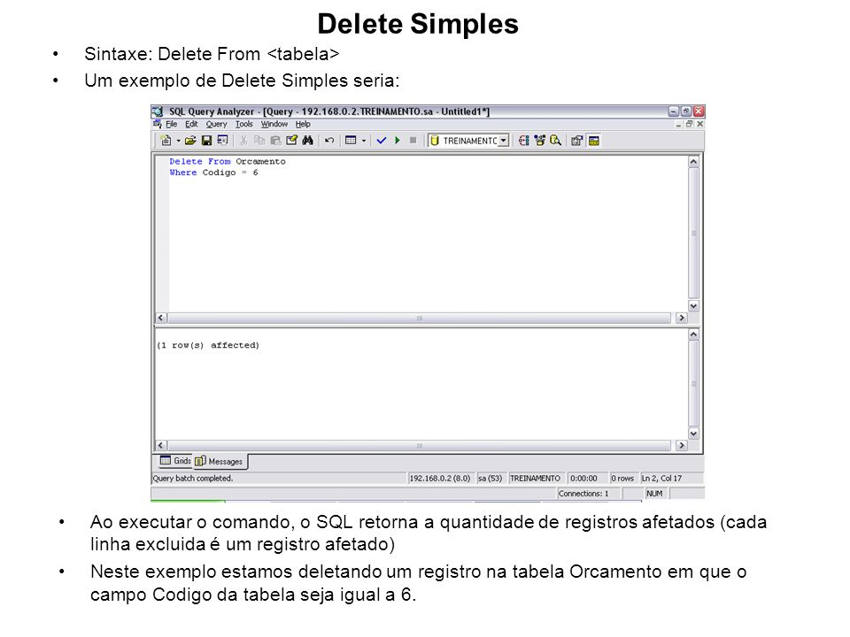 Delete Simples Sintaxe: Delete From <tabela>