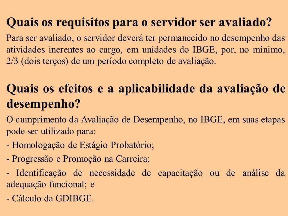 Quais os requisitos para o servidor ser avaliado