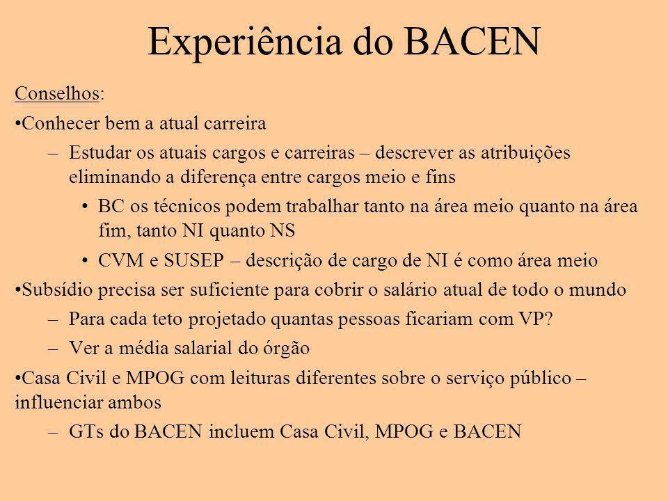 Experiência do BACEN Conselhos: Conhecer bem a atual carreira