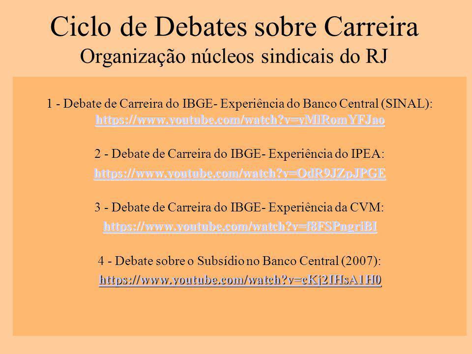 Ciclo de Debates sobre Carreira Organização núcleos sindicais do RJ