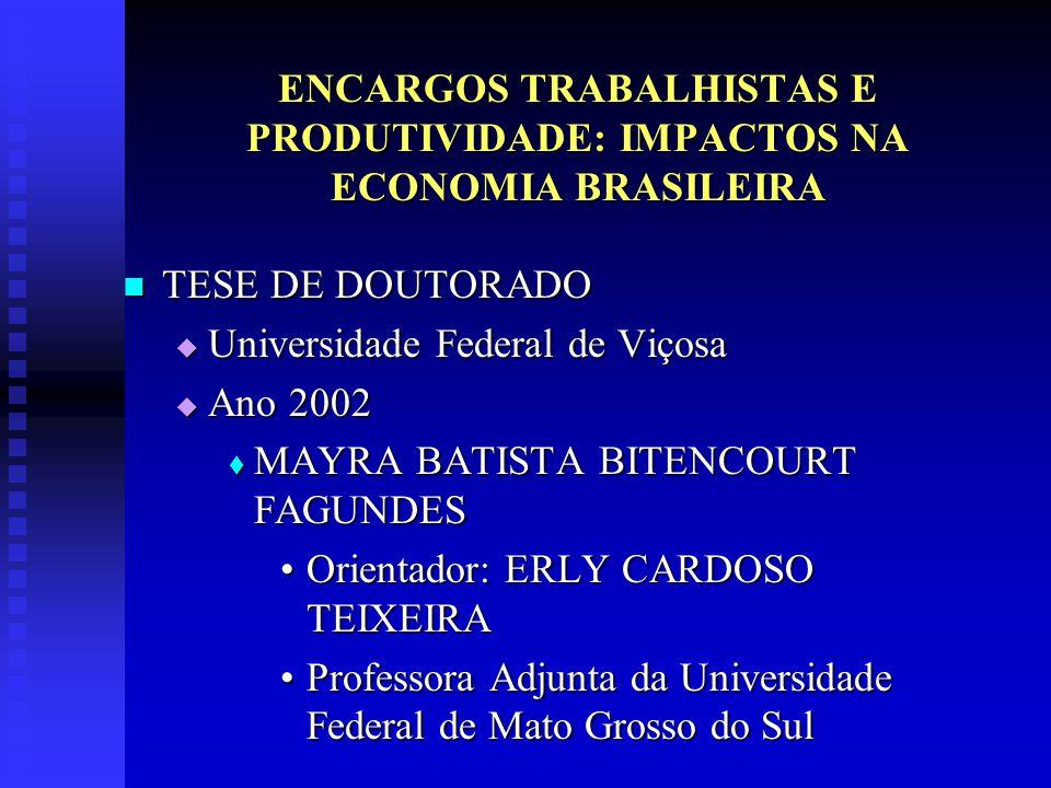 ENCARGOS TRABALHISTAS E PRODUTIVIDADE: IMPACTOS NA ECONOMIA BRASILEIRA