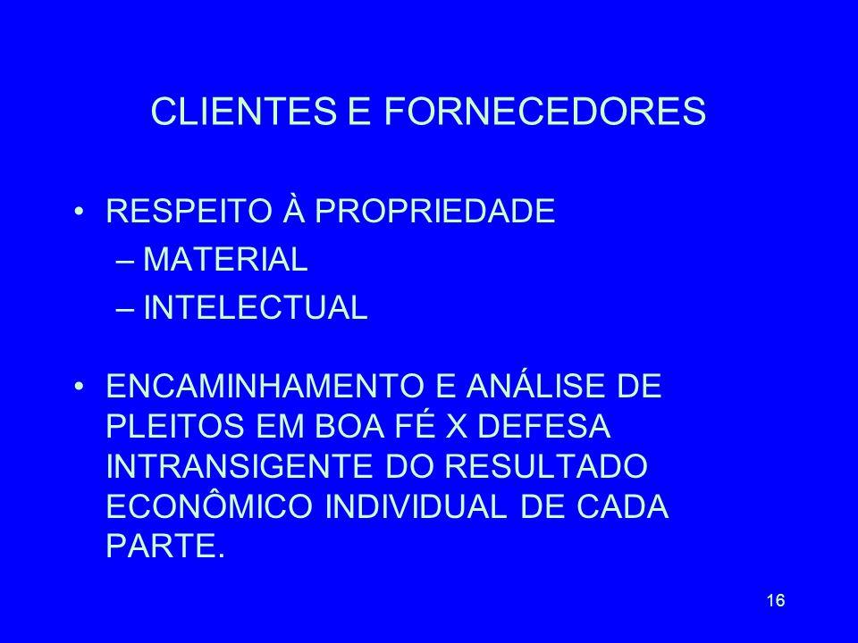 CLIENTES E FORNECEDORES