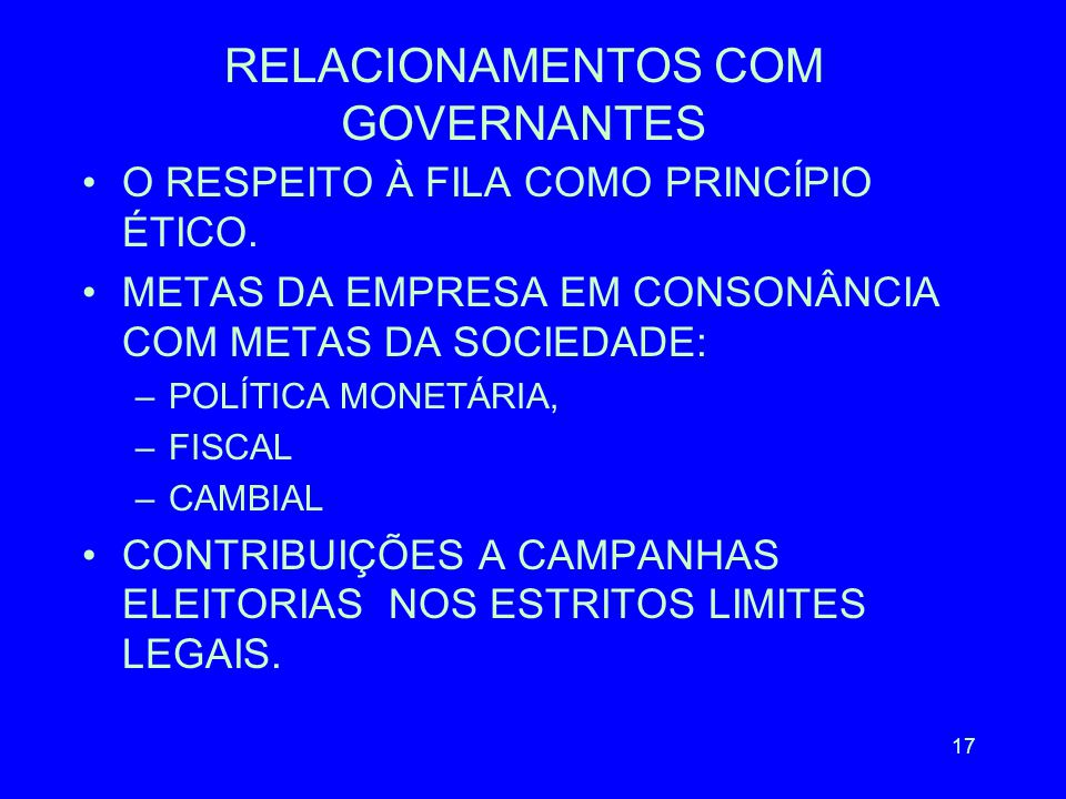 RELACIONAMENTOS COM GOVERNANTES