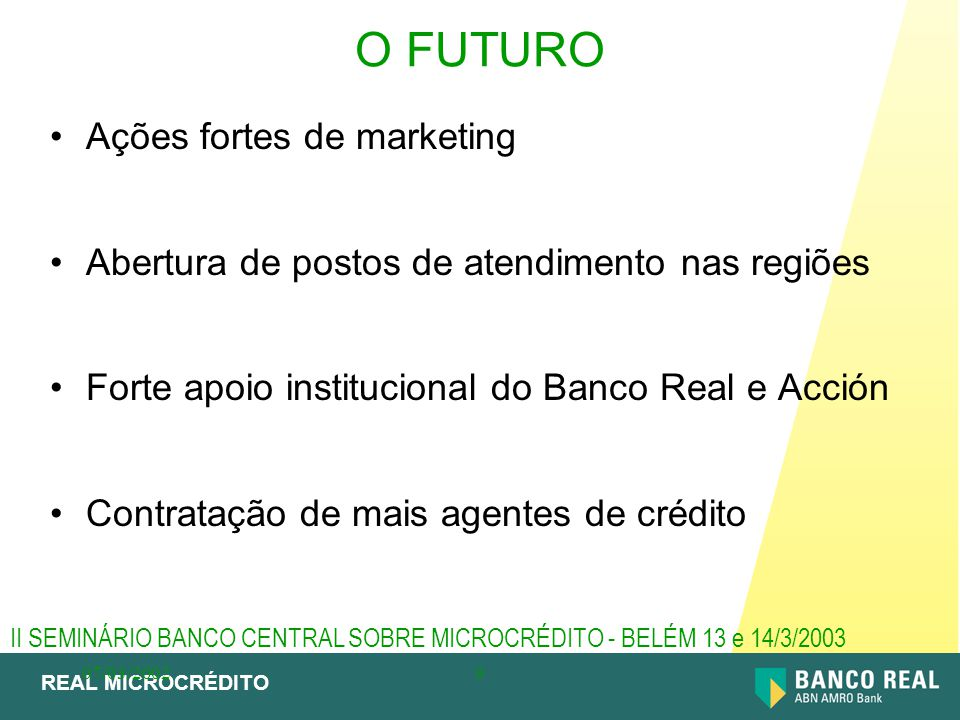 O FUTURO Ações fortes de marketing