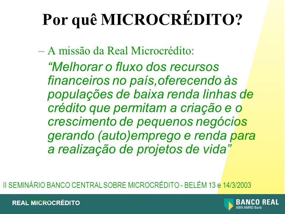 Por quê MICROCRÉDITO A missão da Real Microcrédito: