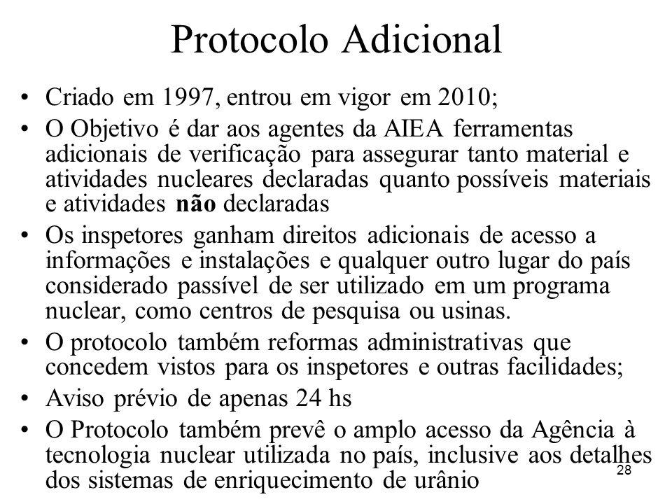 Protocolo Adicional Criado em 1997, entrou em vigor em 2010;