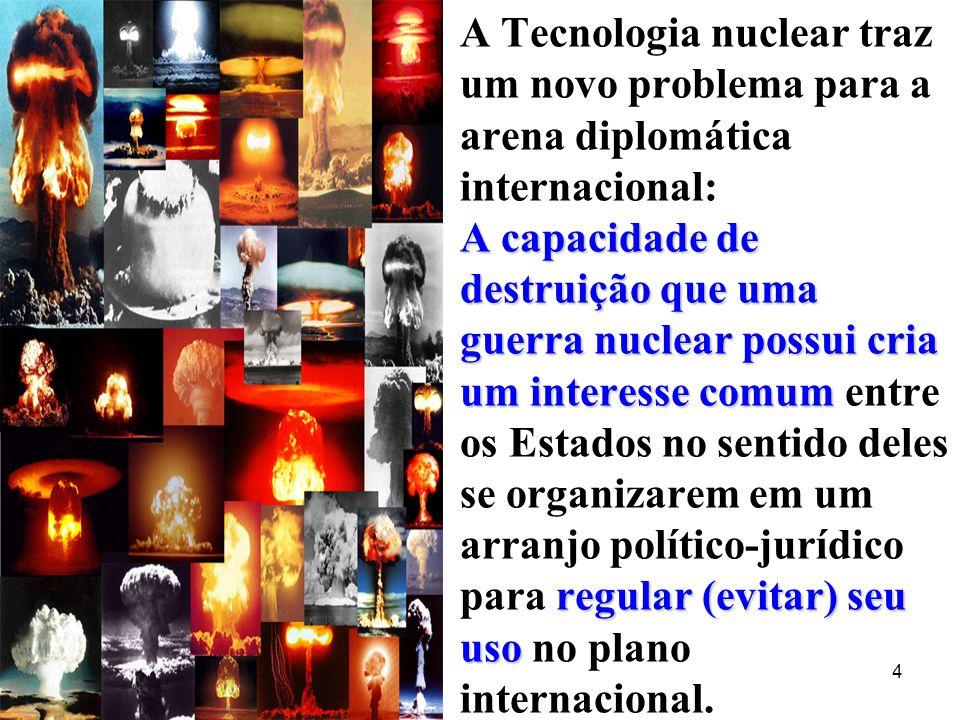 A Tecnologia nuclear traz um novo problema para a arena diplomática internacional: A capacidade de destruição que uma guerra nuclear possui cria um interesse comum entre os Estados no sentido deles se organizarem em um arranjo político-jurídico para regular (evitar) seu uso no plano internacional.