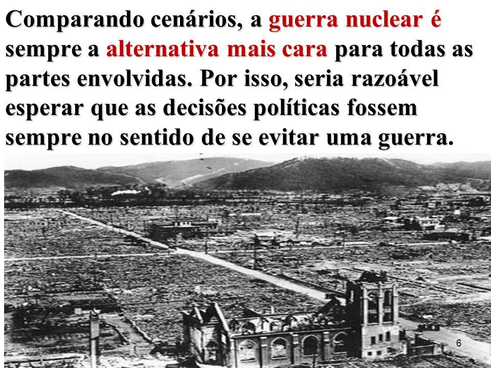 Comparando cenários, a guerra nuclear é sempre a alternativa mais cara para todas as partes envolvidas.