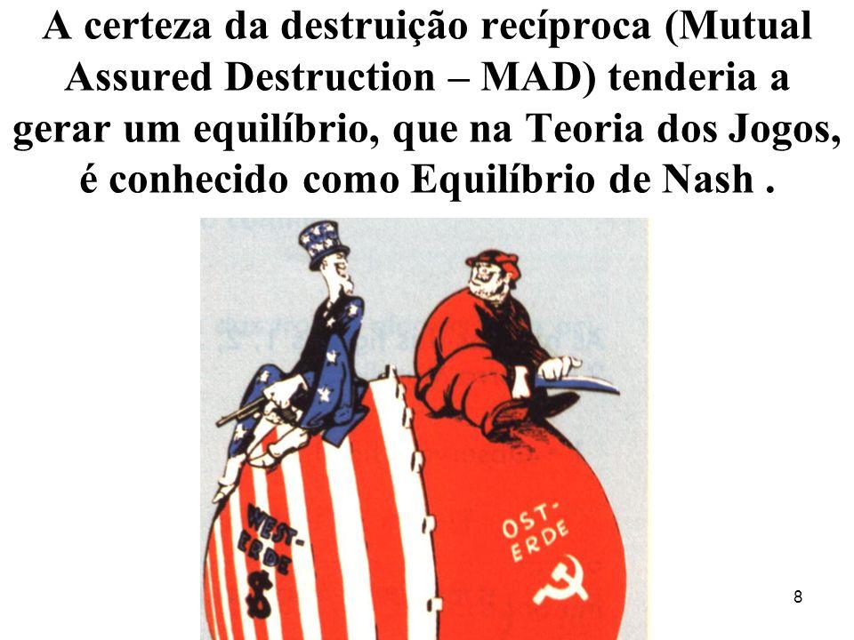 A certeza da destruição recíproca (Mutual Assured Destruction – MAD) tenderia a gerar um equilíbrio, que na Teoria dos Jogos, é conhecido como Equilíbrio de Nash .