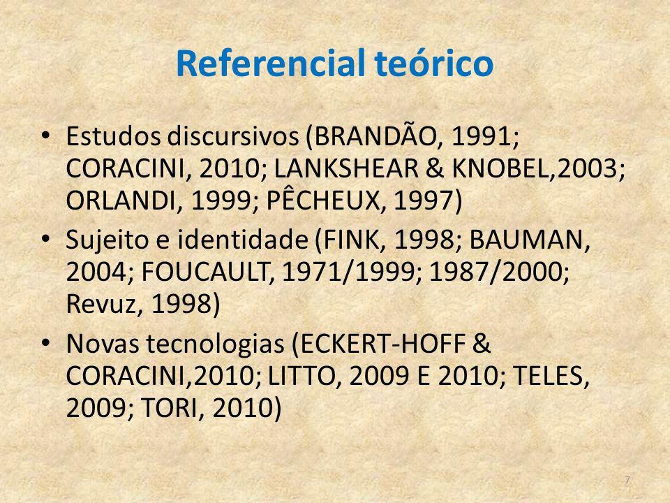 Referencial teórico Estudos discursivos (BRANDÃO, 1991; CORACINI, 2010; LANKSHEAR & KNOBEL,2003; ORLANDI, 1999; PÊCHEUX, 1997)