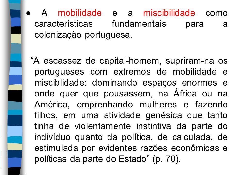 ● A mobilidade e a miscibilidade como características fundamentais para a colonização portuguesa.