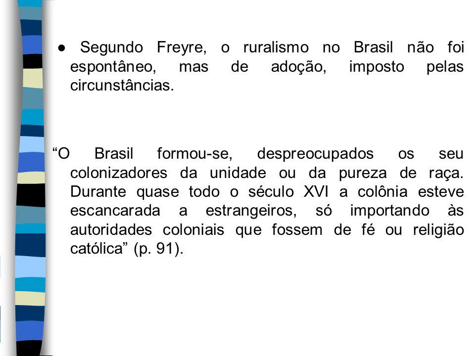● Segundo Freyre, o ruralismo no Brasil não foi espontâneo, mas de adoção, imposto pelas circunstâncias.