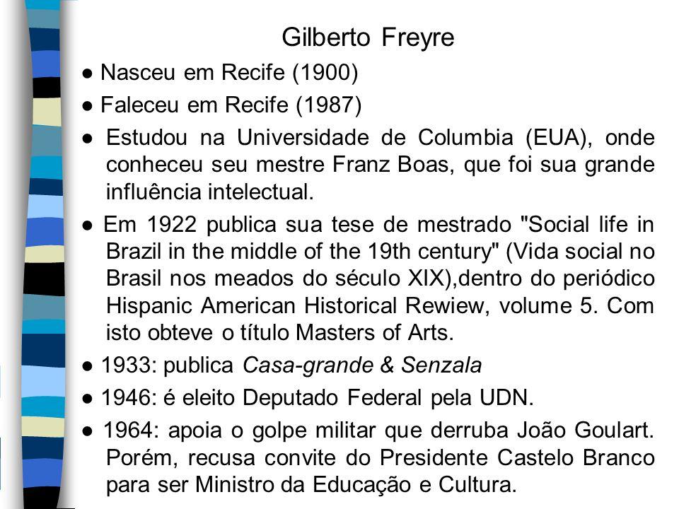 Gilberto Freyre ● Nasceu em Recife (1900) ● Faleceu em Recife (1987)