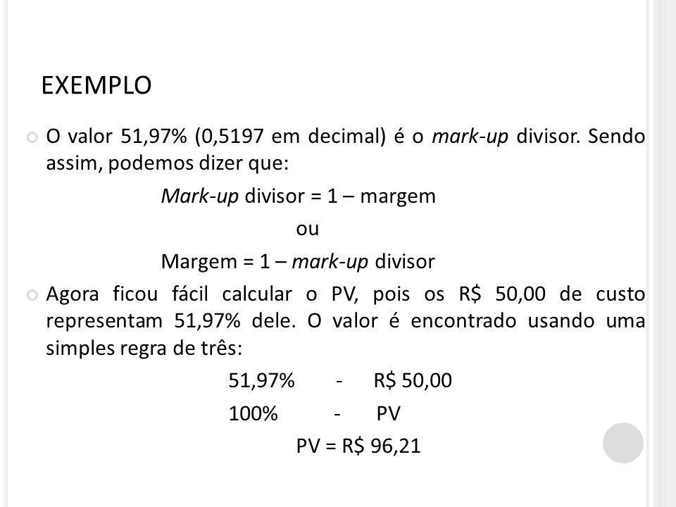 EXEMPLO O valor 51,97% (0,5197 em decimal) é o mark-up divisor. Sendo assim, podemos dizer que: Mark-up divisor = 1 – margem.