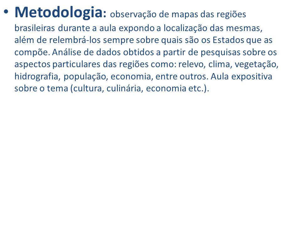 Metodologia: observação de mapas das regiões brasileiras durante a aula expondo a localização das mesmas, além de relembrá-los sempre sobre quais são os Estados que as compõe.