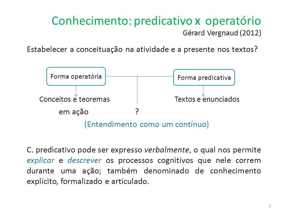 Conhecimento: predicativo X operatório Gérard Vergnaud (2012)