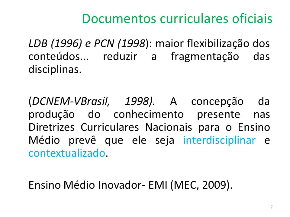 Documentos curriculares oficiais