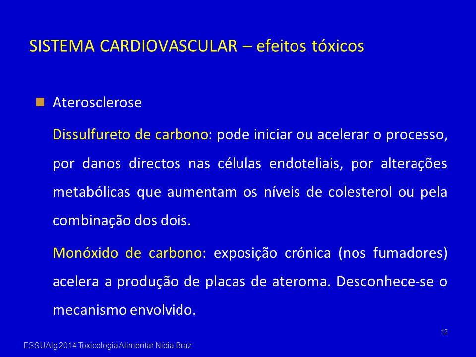 SISTEMA CARDIOVASCULAR – efeitos tóxicos