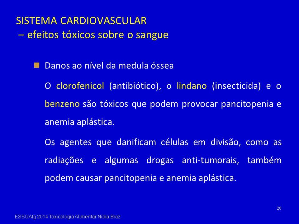 SISTEMA CARDIOVASCULAR – efeitos tóxicos sobre o sangue