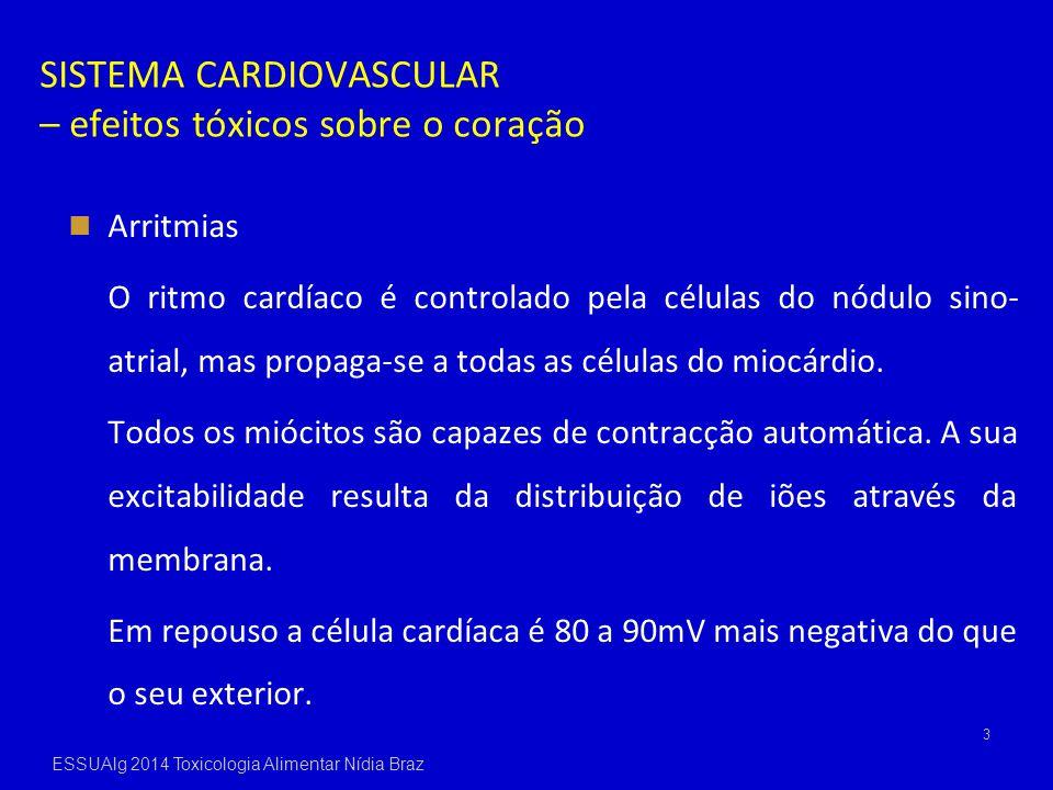 SISTEMA CARDIOVASCULAR – efeitos tóxicos sobre o coração