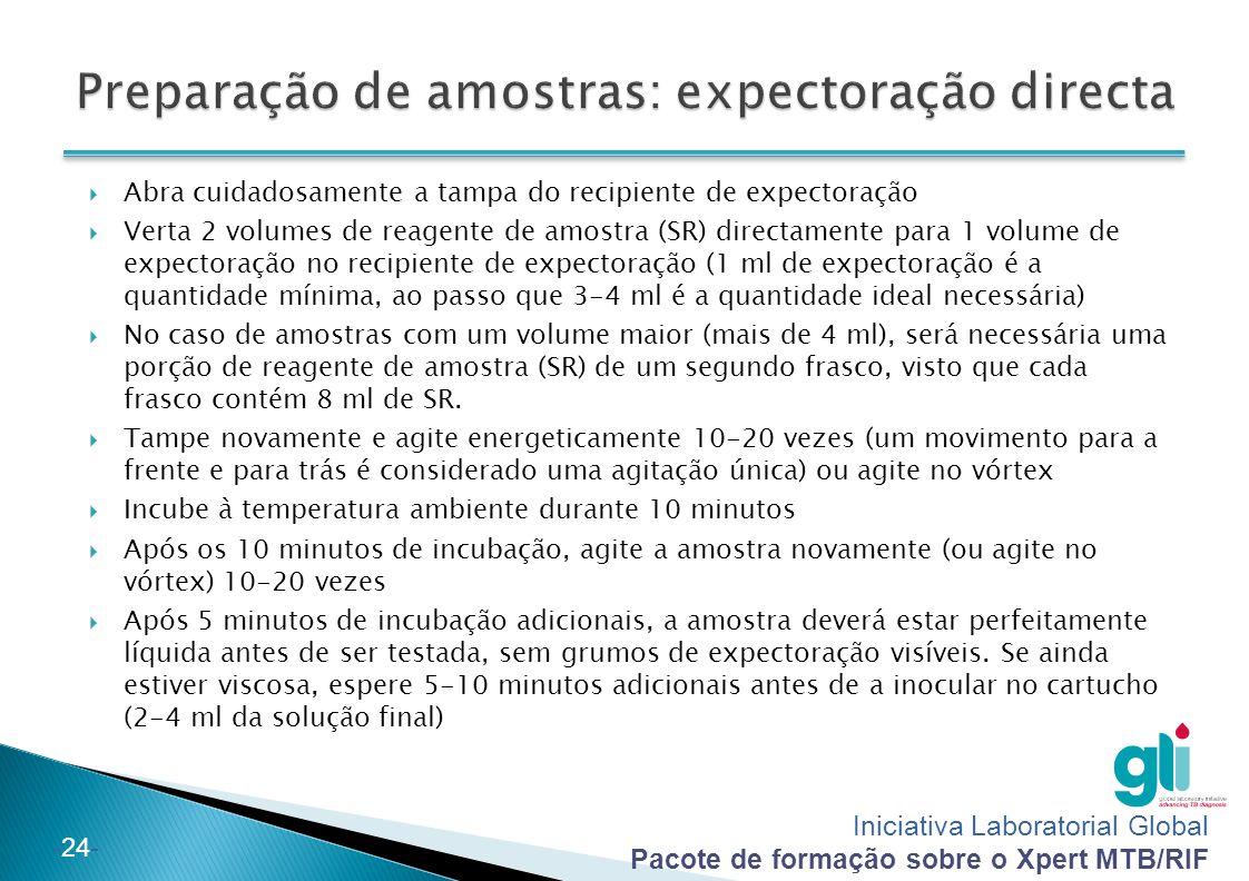 Preparação de amostras: expectoração directa