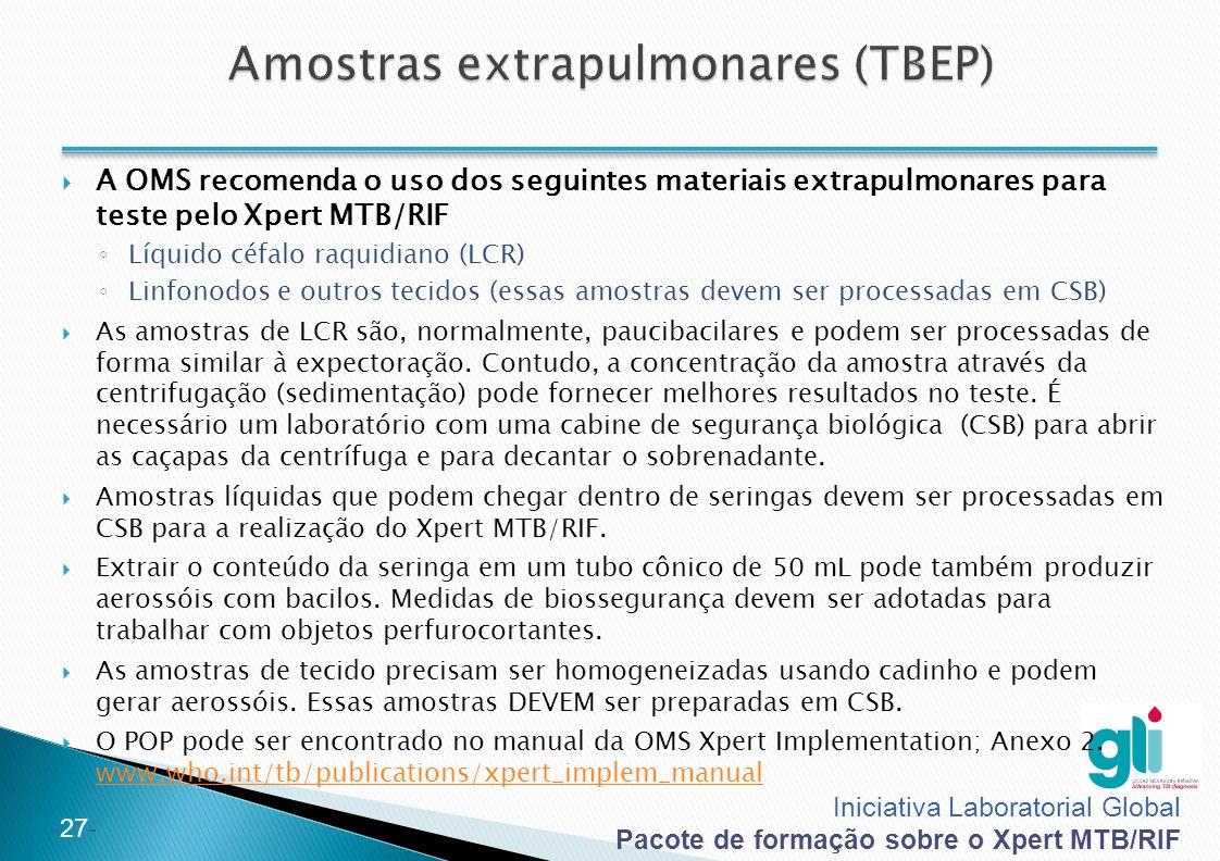 Amostras extrapulmonares (TBEP)