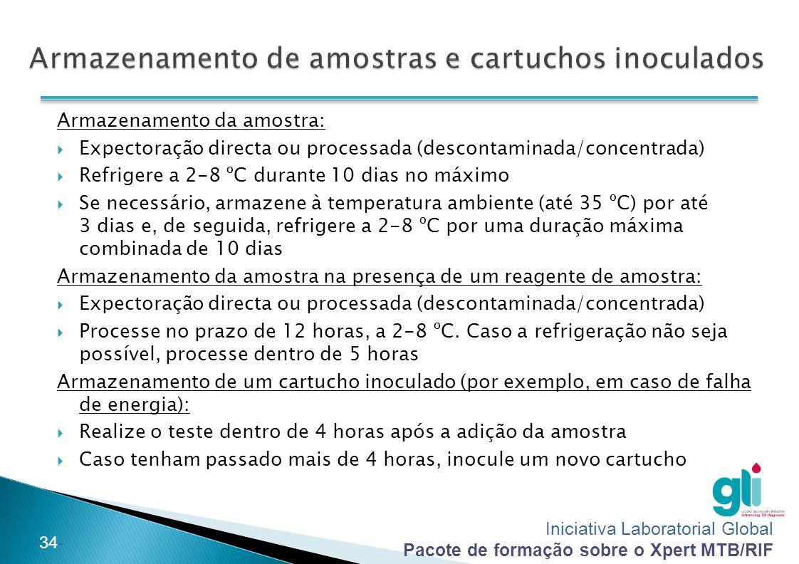 Armazenamento de amostras e cartuchos inoculados
