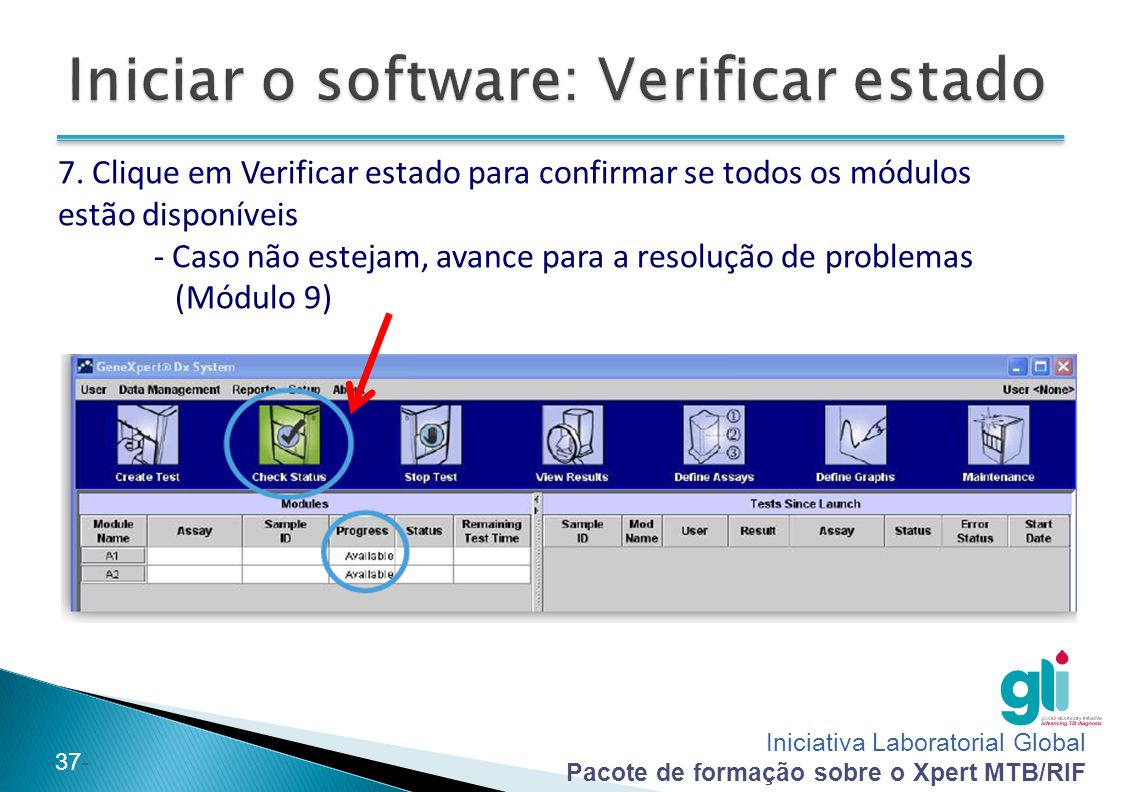 Iniciar o software: Verificar estado