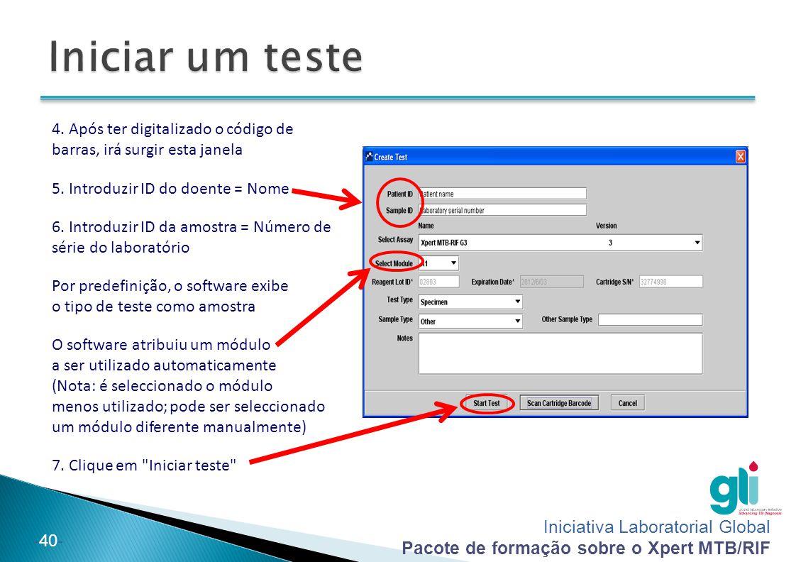Iniciar um teste 4. Após ter digitalizado o código de barras, irá surgir esta janela. 5. Introduzir ID do doente = Nome.