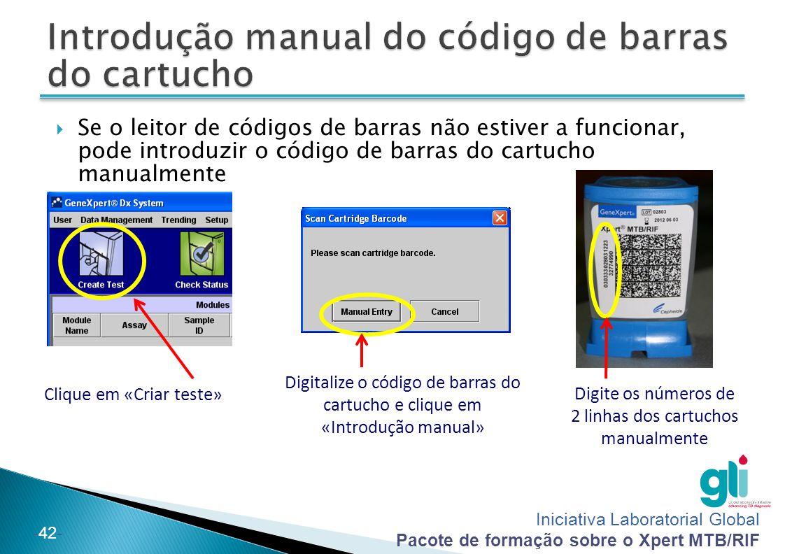 Introdução manual do código de barras do cartucho