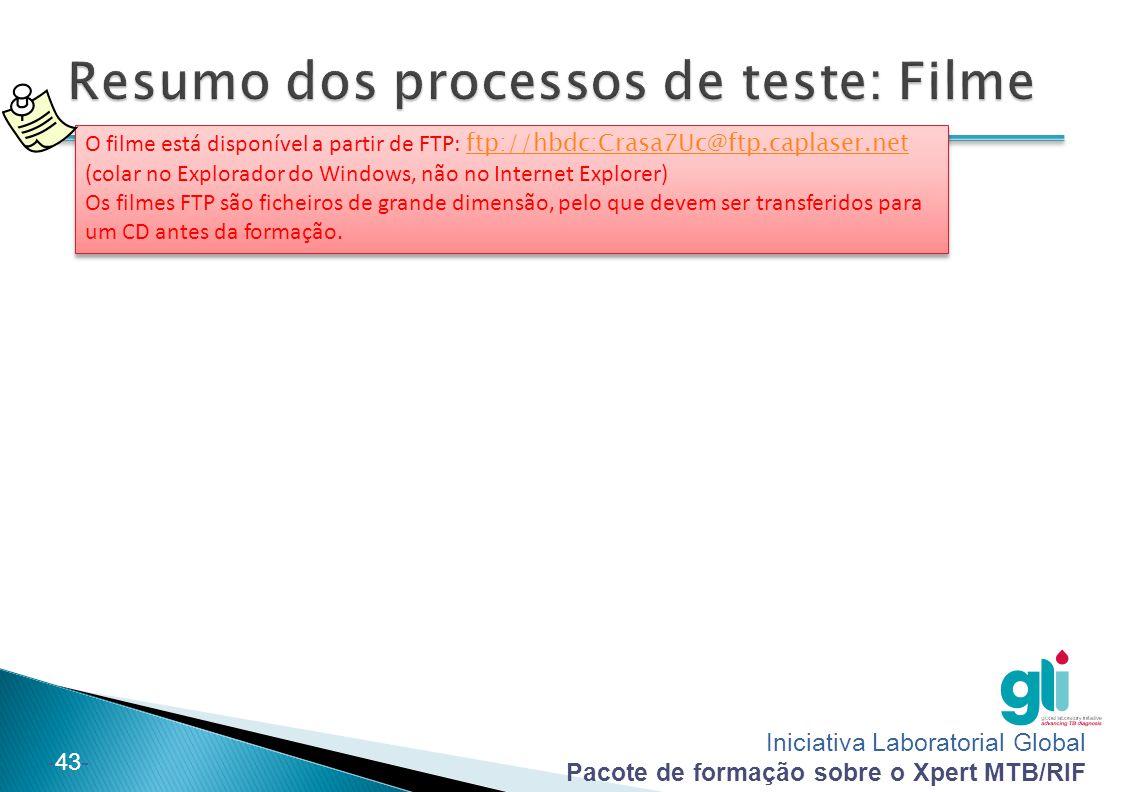 Resumo dos processos de teste: Filme