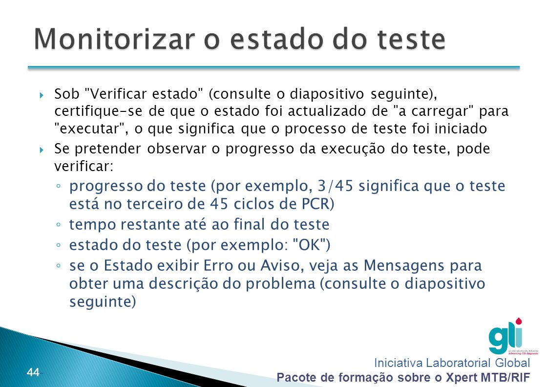 Monitorizar o estado do teste