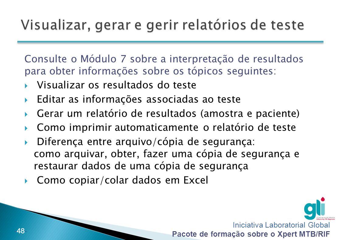 Visualizar, gerar e gerir relatórios de teste