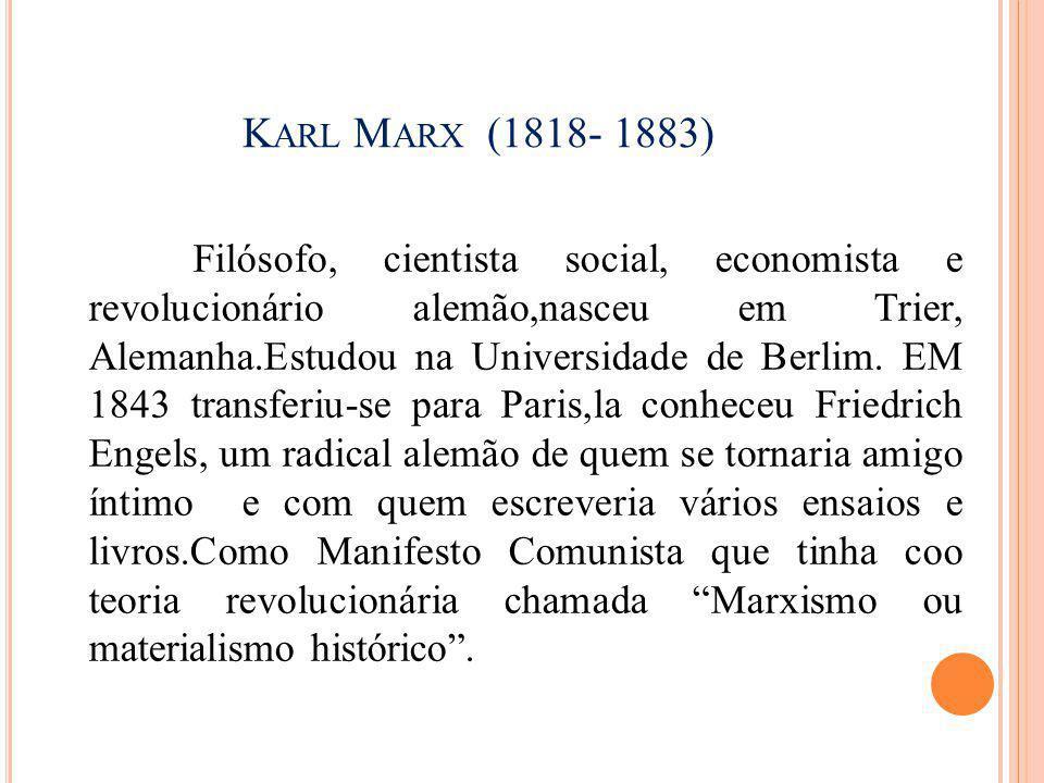 Karl Marx (1818- 1883)