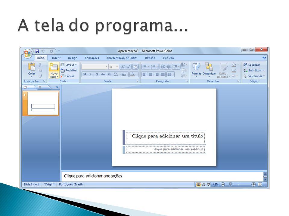 A tela do programa...
