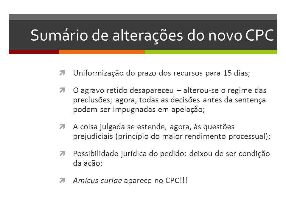 Sumário de alterações do novo CPC