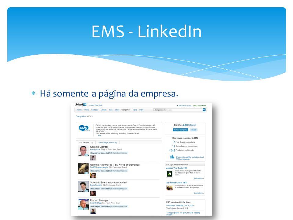 EMS - LinkedIn Há somente a página da empresa.