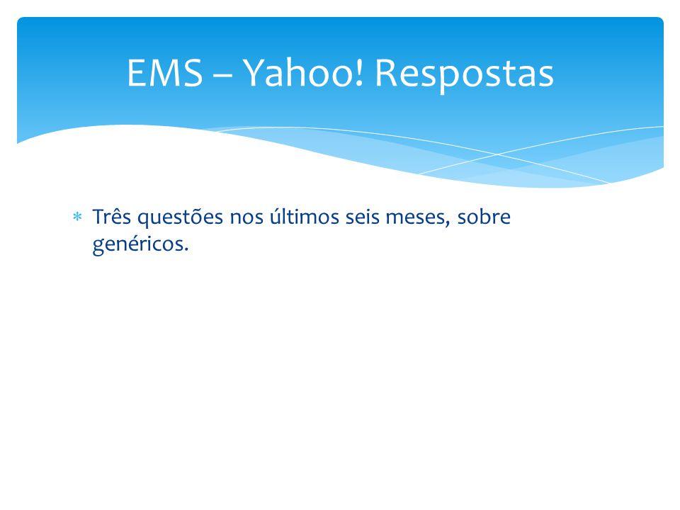 EMS – Yahoo! Respostas Três questões nos últimos seis meses, sobre genéricos.