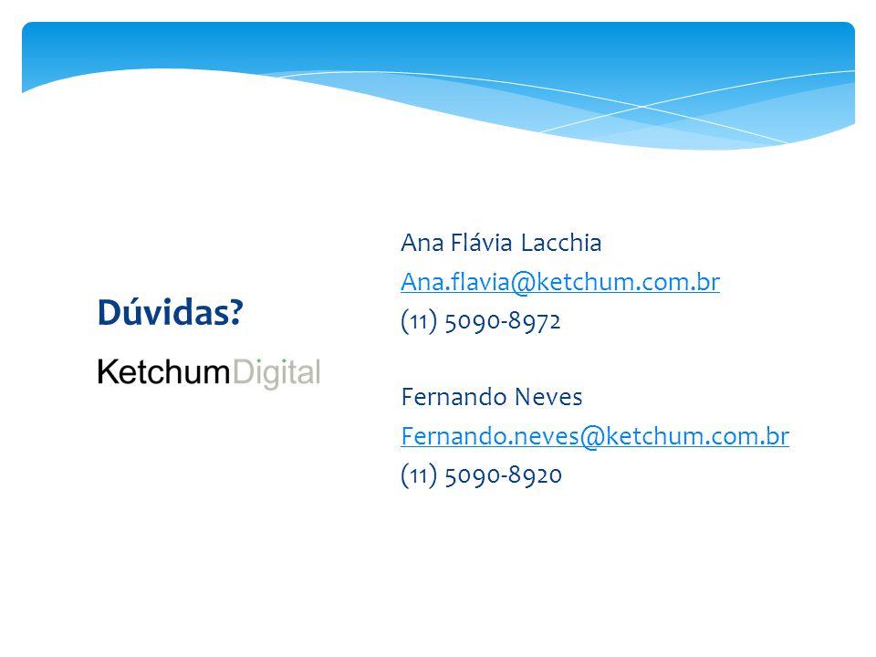Dúvidas Ana Flávia Lacchia Ana.flavia@ketchum.com.br (11) 5090-8972