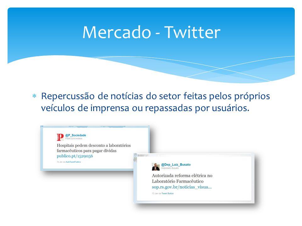 Mercado - Twitter Repercussão de notícias do setor feitas pelos próprios veículos de imprensa ou repassadas por usuários.