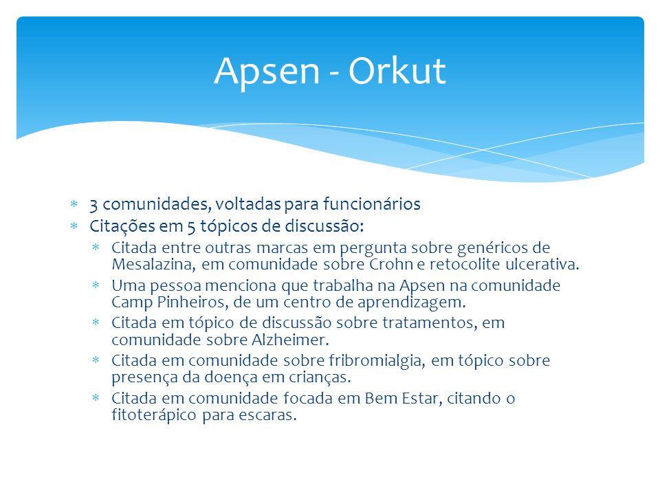 Apsen - Orkut 3 comunidades, voltadas para funcionários