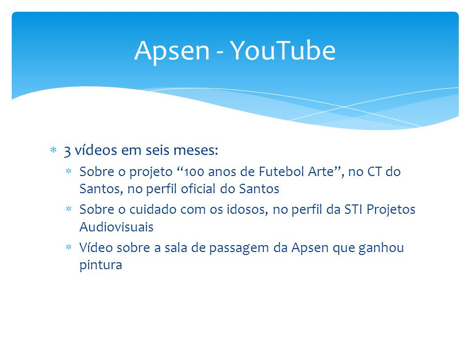 Apsen - YouTube 3 vídeos em seis meses: